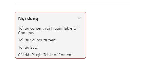 Plugin tạo mục lục cho bài viết