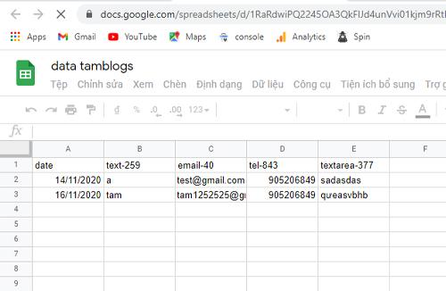 Plugin kết nối Form với GG sheet để lấy dữ liệu KH từ website