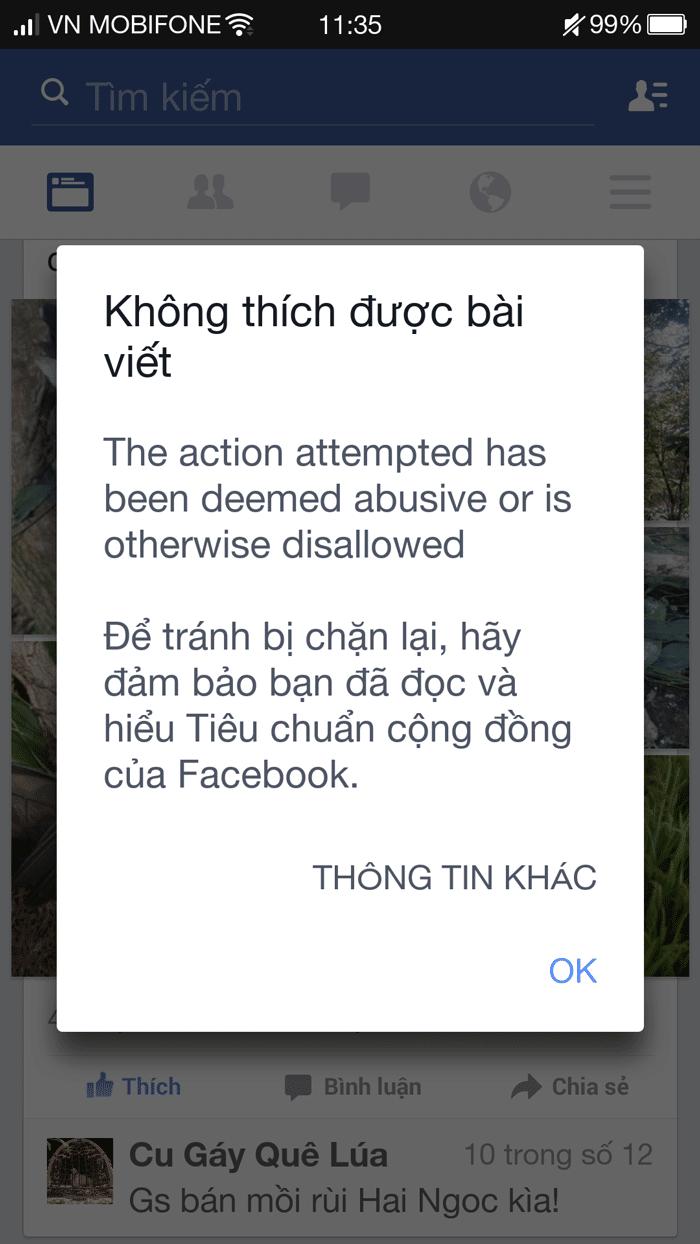 tại sao không like và comment được trên facebook