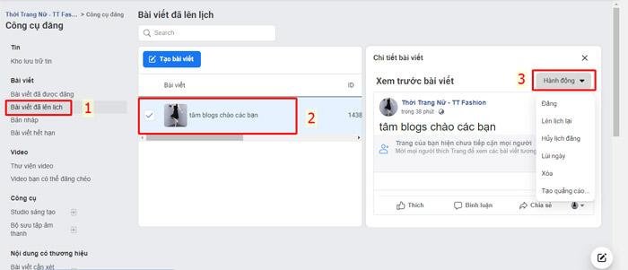 Thay đổi ngày đăng bài trên facebook - Giao diện thường