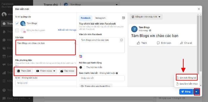 Cách hẹn giờ đăng bài bằng Facebook Bussiness Suite
