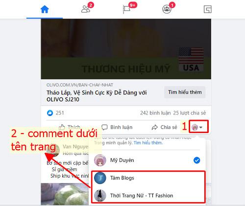 Seeding Comment bằng tên trang fanpage