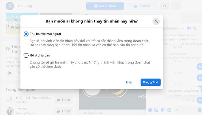 Cách Xóa Tin Nhắn Trên FaceBook Máy Tính