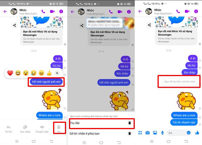 Thu Hồi Tin Nhắn Trên FB Điện Thoại