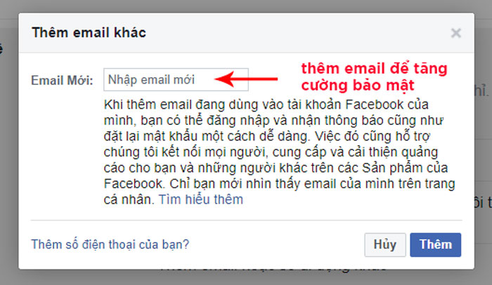 Thêm email xác thực để tăng cường bảo mật