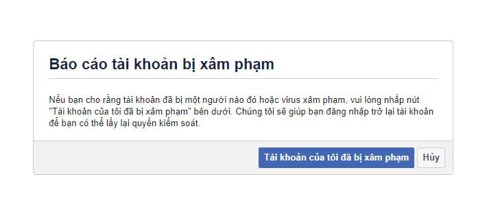 Báo cáo tài khoản Facebook đã bị xâm phạm