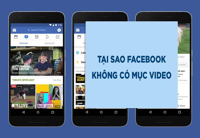 Tại sao facebook không có mục video (Facebook Watch)