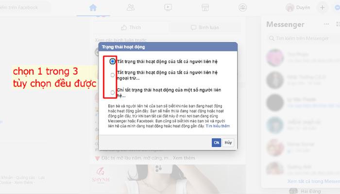 Không hiện thời gian online trên facebook