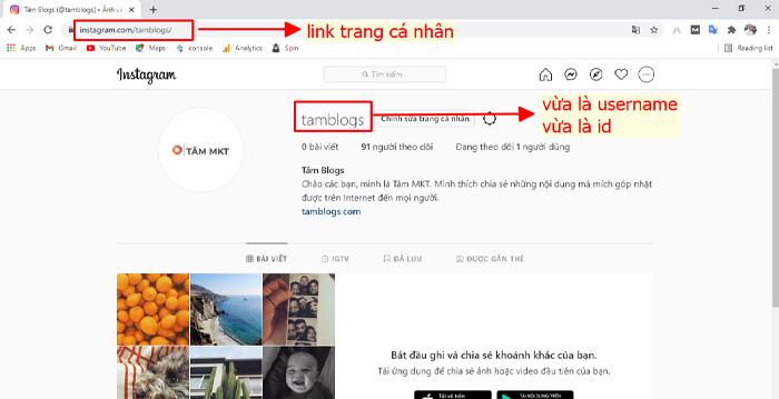 Cách Sao chép link instagram của mình trên máy tính