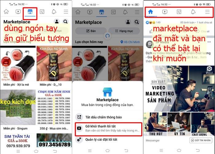 Cách xóa nút Marketplace khỏi Facebook trên điện thoại