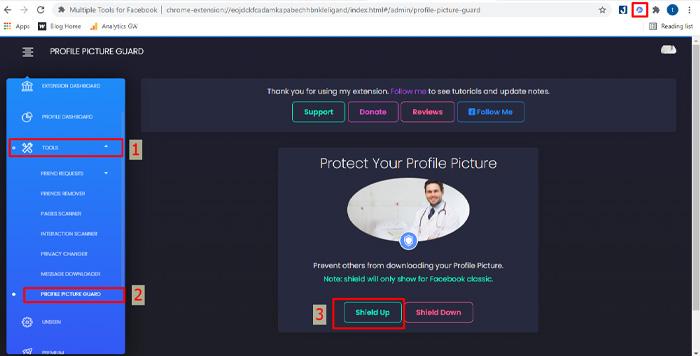 Mở khiên sẽ bảo vệ ảnh đại diện facebook